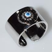 Δαχτυλίδι φο μπιζού ματάκι evil eye με λευκούς κρυστάλλους σε ασημί χρώμα BZ-RG-00426 Εικόνα 2