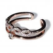Δαχτυλίδι φο μπιζού ορείχαλκος βεράκι άπειρο με λευκούς κρυστάλλους σε ροζ χρυσό χρώμα BZ-RG-00441 Εικόνα 2