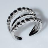 Δαχτυλίδι φο μπιζού ορείχαλκος με μαύρους κρυστάλλους σε ασημί χρώμα BZ-RG-00444 Εικόνα 3