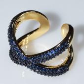 Δαχτυλίδι φο μπιζού ορείχαλκος σχήμα Χ με μπλε κρυστάλλους σε χρυσό χρώμα BZ-RG-00445 Εικόνα 2
