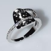 Δαχτυλίδι φο μπιζού ορείχαλκος με μαύρους και λευκούς κρυστάλλους σε ασημί χρώμα BZ-RG-00448 Εικόνα 3