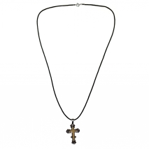 Κολιέ σταυρός από ατσάλι (staineless steel) σε ασημί και χρυσό χρώμα με δερματάκι BZ-NK-00207 εικόνα 2
