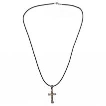 Κολιέ σταυρός από ατσάλι (staineless steel) σε ασημί και χρυσό χρώμα με δερματάκι BZ-NK-00208 εικόνα 2