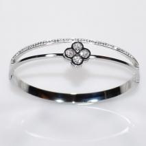 Βραχιόλι ατσάλινο (stainless steel) λουλούδι με κρυστάλλους σε ασημί χρώμα BZ-BR-00326 εικόνα 2