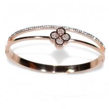 Βραχιόλι ατσάλινο (stainless steel) λουλούδι με κρυστάλλους σε ροζ χρυσό χρώμα BZ-BR-00327 εικόνα 2
