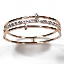 Βραχιόλι ατσάλινο (stainless steel) με κρυστάλλους σε ροζ χρυσό χρώμα BZ-BR-00329 εικόνα 2