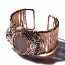 Βραχιόλι φο μπιζού bangle σπιράλ με κρυστάλλους σε ροζ χρυσό και ασημί χρώμα BZ-BR-00387 εικόνα 2