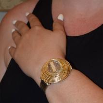 Βραχιόλι φο μπιζού bangle σπιράλ με κρυστάλλους σε χρυσό και ασημί χρώμα BZ-BR-00388 εικόνα 2
