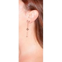 Σκουλαρίκια ατσάλινα (stainless steel) πεταλούδες με κρυστάλλους σε ροζ χρυσό χρώμα BZ-ER-00338 φορεμένο στο αυτί