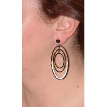 Σκουλαρίκια ατσάλινα (stainless steel) κρίκοι με κρυστάλλους σε ροζ χρυσό και μαύρο χρώμα BZ-ER-00359 εικόνα 2