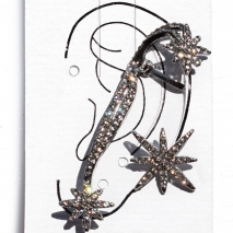 Earrings that hug the ear faux bijoux star with white crystals in silver color BZ-ER-00433 Image 2