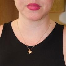 Κολιέ ατσάλινο (stainless steel) πεταλούδα σε ροζ χρυσό χρώμα BZ-NK-00343 εικόνα 2