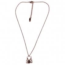 Κολιέ ατσάλινο (stainless steel) αρκουδάκι Love με mother of pearl σε ροζ χρυσό χρώμα BZ-NK-00348 εικόνα 3