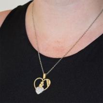 Κολιέ ατσάλινο (stainless steel) καρδιά μαμά μωρό mom με λευκούς κρυστάλλους σε ασημί χρώμα BZ-NK-00351 εικόνα 2