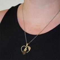 Κολιέ ατσάλινο (stainless steel) καρδιά μαμά μωρό mom με μαύρους κρυστάλλους σε ασημί χρώμα BZ-NK-00352 εικόνα 2
