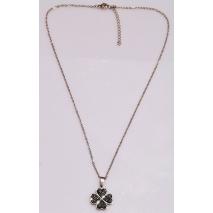 Κολιέ ατσάλινο (stainless steel) τετράφυλλο τριφύλλι με μαύρους κρυστάλλους σε ροζ χρυσό χρώμα BZ-NK-00358 εικόνα 3