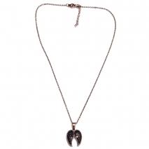 Κολιέ ατσάλινο (stainless steel) φτερά αγγέλου με μαύρους κρυστάλλους σε ροζ χρυσό χρώμα BZ-NK-00360 εικόνα 3