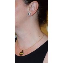 Κολιέ ατσάλινο (stainless steel) σετ με σκουλαρίκια κύκνοι σε χρυσό και μαύρο χρώμα BZ-NK-00369 εικόνα 2