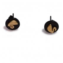 Κολιέ ατσάλινο (stainless steel) σετ με σκουλαρίκια κύκνοι σε χρυσό και μαύρο χρώμα BZ-NK-00369 εικόνα 4