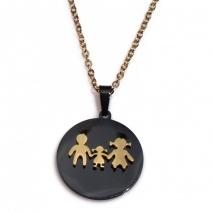 Κολιέ ατσάλινο (stainless steel) σετ με σκουλαρίκια οικογένεια μπαμπάς μαμά κοριτσάκι σε χρυσό και μαύρο χρώμα BZ-NK-00370 εικόνα 3