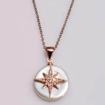 Κολιέ ατσάλινο (stainless steel) σετ με σκουλαρίκια αστέρια με κρυστάλλους σε ροζ χρυσό χρώμα BZ-NK-00371 εικόνα 3