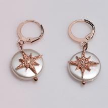 Κολιέ ατσάλινο (stainless steel) σετ με σκουλαρίκια αστέρια με κρυστάλλους σε ροζ χρυσό χρώμα BZ-NK-00371 εικόνα 4