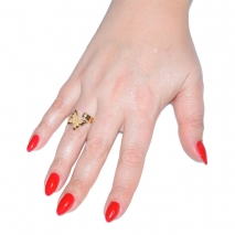 Δαχτυλίδι ατσάλινο (stainless steel) πεταλούδα σε χρυσό χρώμα με κρυστάλλους BZ-RG-00295 εικόνα 2 φορεμένο
