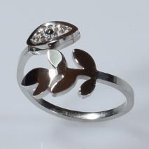 Δαχτυλίδι ατσάλινο (stainless steel) ματάκι και φύλλο σε ασημί χρώμα με κρυστάλλους BZ-RG-00296