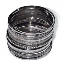 Βραχιόλι φο μπιζού πολλαπλές βέργες με κρυστάλλους σε gun metal μαύρο χρώμα BZ-BR-00434