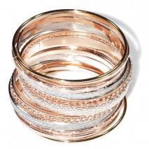 Βραχιόλι φο μπιζού πολλαπλές βέργες τρίχρωμο σε ροζ χρυσό, χρυσό και ασημί χρώμα BZ-BR-00435