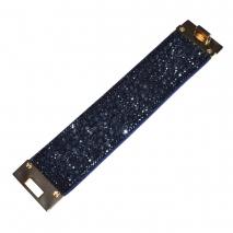 Βραχιόλι φο μπιζού δερμάτινο με σκούρο μπλε κρυστάλλους σε απαλό χρυσό χρώμα BZ-BR-00438