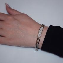 Βραχιόλι ατσάλινο (stainless steel) ταυτότητα με λευκούς κρυστάλλους σε ασημί χρώμα BZ-BR-00444 Εικόνα 2