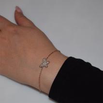 Βραχιόλι ατσάλινο (stainless steel) πεταλούδα με λευκούς κρυστάλλους σε ροζ χρυσό χρώμα BZ-BR-00458 Εικόνα 2