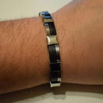 Βραχιόλι ανδρικό ατσάλινο (stainless steel) σε ασημί και μαύρο χρώμα BZ-BR-00459 Εικόνα 3