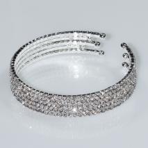Βραχιόλι φο μπιζού ορείχαλκος bangle με λευκούς κρυστάλλους σε ασημί χρώμα BZ-BR-00463 Εικόνα 2