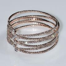 Βραχιόλι φο μπιζού ορείχαλκος bangle με λευκούς κρυστάλλους σε ροζ χρυσό χρώμα BZ-BR-00467 Εικόνα 2