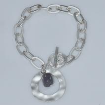 Βραχιόλι φο μπιζού ορείχαλκος αλυσίδα με ορυκτή πέτρα σε λευκό/ασημί χρώμα BZ-BR-00469 Εικόνα 2