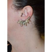 Σκουλαρίκι που αγκαλιάζει το αυτί ear climber φο μπιζού φτερό με λευκούς κρυστάλλους σε ασημί χρώμα BZ-ER-00481 εικόνα 2