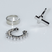Earrings ear cuffs (set three together) faux bijoux brass that don't need hole and grapple the ear cross with pearls in silver color BZ-ER-00592 Image 2