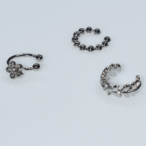 Earrings ear cuffs (set three together) faux bijoux brass that don't need hole and grapple the ear flower with white crystals in silver color BZ-ER-00597 Image 2