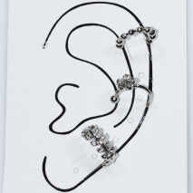 Earrings ear cuffs (set three together) faux bijoux brass that don't need hole and grapple the ear flower with white crystals in silver color BZ-ER-00597 Image 3