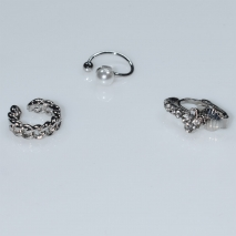 Earrings ear cuffs (set three together) faux bijoux brass that don't need hole and grapple the ear with pearls and white crystals in silver color BZ-ER-00600 Image 2