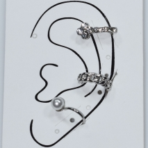 Earrings ear cuffs (set three together) faux bijoux brass that don't need hole and grapple the ear with pearls and white crystals in silver color BZ-ER-00600 Image 3