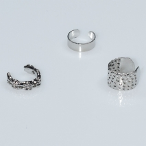 Earrings ear cuffs (set three together) faux bijoux brass that don't need hole and grapple the ear in silver color BZ-ER-00601 Image 2