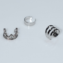 Earrings ear cuffs (set three together) faux bijoux brass that don't need hole and grapple the ear crown in silver color BZ-ER-00602 Image 2