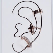 Earrings ear cuffs (set three together) faux bijoux brass that don't need hole and grapple the ear cross with pearls in rose gold color BZ-ER-00603 Image 3