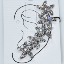 Earrings that hug the ear faux bijoux brass ear climbers stars with white crystals in silver color BZ-ER-00604 Image 2
