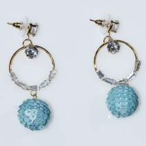Earrings faux bijoux brass long hoops spheres with white crystals in gold color BZ-ER-00611 Image 2