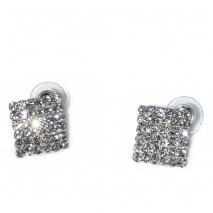 Κολιέ φο μπιζού statement σετ με σκουλαρίκια σε ασημί χρώμα με λευκούς κρυστάλλους BZ-NK-00380 Εικόνα Σκουλαρίκια