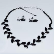 Κολιέ φο μπιζού statement σετ με σκουλαρίκια σε μαύρο χρώμα με μαύρους κρυστάλλους BZ-NK-00388 Εικόνα 3